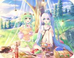 2girls apple blue_eyes blue_sky blush bobby_socks bowl cake center_frills cloud cloudy_sky cocktail_pick commentary_request cup day eyewear_on_head food food_request fork fruit grapes grass green_eyes green_hair green_shorts gumi hatsune_miku highres light_blue_hair long_hair long_sleeves multiple_girls no_shoes open_mouth outdoors pale_skin phonograph picnic picnic_basket plate red_apple sakakidani sandwich short_hair short_shorts short_sleeves shorts sky smile socks spoon tagme teacup teapot tiered_tray tree twintails vocaloid white_legwear
