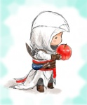 1boy altair_ibn_la-ahad apple assassin's_creed assassin's_creed_(series) chibi food fruit gloves holding holding_food holding_fruit hood male_focus non-web_source solo vambraces