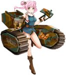 1girl baguette belt bread breasts brown_eyes brown_footwear cannon caterpillar_tracks char_b1 char_b1_(panzer_waltz) food ground_vehicle hair_ornament large_breasts military military_vehicle motor_vehicle official_art panzer_waltz personification pink_hair scarf solo tank transparent_background turret twintails