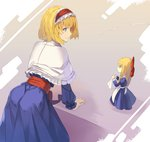 2girls alice_margatroid apron ass bangs blonde_hair blue_dress blue_eyes bow capelet commentary_request cowboy_shot dress eyebrows_visible_through_hair frilled_capelet frilled_hairband frills from_behind grey_background hair_bow hairband highres holding juliet_sleeves leaning_forward lolita_hairband long_hair long_sleeves looking_at_another multiple_girls puffy_sleeves red_bow red_hairband red_sash rin_falcon sash shadow shanghai_doll short_hair sidelocks standing touhou waist_apron white_apron white_capelet