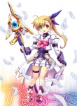 1girl alternate_weapon blonde_hair cosplay heterochromia lyrical_nanoha magic_circle mahou_shoujo_lyrical_nanoha_strikers miniskirt nagayori ponytail raising_heart skirt solo takamachi_nanoha takamachi_nanoha_(cosplay) vivio weapon