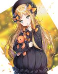 1girl abigail_williams_(fate/grand_order) arin_(wda4167) artist_name bangs black_bow black_dress black_hat blonde_hair blue_eyes blush blush_stickers bow butterfly closed_mouth commentary_request dress eyebrows_visible_through_hair fate/grand_order fate_(series) finger_to_mouth fingernails hair_bow hat head_tilt long_hair long_sleeves looking_at_viewer object_hug orange_bow parted_bangs polka_dot polka_dot_bow solo stuffed_animal stuffed_toy teddy_bear very_long_hair