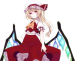 1girl ascot blonde_hair crote expressionless flandre_scarlet frilled_skirt frilled_sleeves frills hat hat_ribbon highres mob_cap puffy_short_sleeves puffy_sleeves red_eyes ribbon short_sleeves side_ponytail skirt touhou vest wing_collar wings
