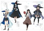 4girls :d azuuru bare_legs black_cape black_hair black_hat black_legwear black_shorts black_skirt blonde_hair blue_cape blue_eyes blush boots bracelet breasts brown_footwear brown_shirt brown_shorts brown_skirt cape character_name character_profile cigarette collarbone collared_shirt english eyebrows_visible_through_hair fran_(majo_no_tabitabi) green_eyes grey_jacket hair_between_eyes hair_over_one_eye hand_in_pocket hat hat_removed headwear_removed hexagram highres holding holding_cigarette holding_hat holding_wand jacket jewelry large_breasts long_hair long_skirt looking_at_viewer low_ponytail majo_no_tabitabi medium_breasts mina_(majo_no_tabitabi) mole mole_under_eye multicolored multicolored_cape multicolored_clothes multicolored_footwear multiple_girls neck_ribbon official_art open_mouth pantyhose parted_lips plaid plaid_skirt ponytail print_cape purple_cape purple_footwear red_hat red_neckwear red_ribbon ribbon saya_(majo_no_tabitabi) sheila_(majo_no_tabitabi) shirt short_hair shorts skirt smile socks sparkle_background thighhighs translation_request v wand white_cape white_footwear white_hat white_shirt witch_hat