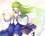 1girl bare_shoulders blue_skirt breasts check_commentary commentary commentary_request cowboy_shot detached_sleeves eyebrows_visible_through_hair frog_hair_ornament green_eyes green_hair hair_between_eyes hair_ornament hair_tubes highres kochiya_sanae large_breasts long_hair long_sleeves own_hands_together rin_falcon skirt smile snake_hair_ornament solo standing touhou wide_sleeves wing_collar