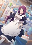 1girl apron balloon bangs blue_dress blue_eyes breasts cake closed_mouth collared_dress cup dress drink drinking_glass drinking_straw food heart highres holding holding_tray indoors juliet_sleeves long_hair long_sleeves looking_at_viewer maid maid_apron maid_headdress medium_breasts monogatari_(series) monogatari_series_puc_puc official_art pantyhose puffy_sleeves purple_hair senjougahara_hitagi solo standing stationery tray very_long_hair waitress watanabe_akio