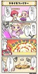 /\/\/\ 4koma blonde_hair blue_eyes breasts character_name comic commentary_request costume_request explosion flower flower_knight_girl food_request german_iris_(flower_knight_girl) hair_flower hair_ornament hat hibiscus_(flower_knight_girl) o_o onomatopoeia open_mouth purple_eyes red_hair sailor_hat shaded_face short_hair smoke speech_bubble surprised tagme throwing translation_request |_|
