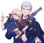 1boy 1girl black_gloves blonde_hair blue_rose_(gun) carrying commentary cosplay crop_top cropped_jacket crossover devil_breaker devil_may_cry devil_may_cry_5 fate/extra fate_(series) gloves green_eyes gun highres holding jacket jewelry liangchanxingmingrixiang mechanical_arm midriff namesake necklace nero_(devil_may_cry) nero_(devil_may_cry)_(cosplay) nero_claudius_(fate) nero_claudius_(fate)_(all) one_eye_closed pointing princess_carry prosthetic_hand shorts simple_background single_glove smile thighhighs thighs ultra_asuka weapon white_background white_hair