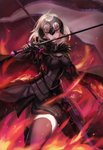 1girl absurdres armor armored_dress bangs banner breasts cape capelet chain cloak commentary_request fate/grand_order fate_(series) fiery_background fire flag fur-trimmed_cape fur_collar fur_trim gauntlets headpiece highres holding holding_flag holding_sword holding_weapon jeanne_d'arc_(alter)_(fate) jeanne_d'arc_(fate)_(all) kuro_(ning2763) large_breasts short_hair silver_hair solo sword thighhighs tsurime weapon yellow_eyes