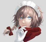 1girl bangs blue_eyes bow braid commentary_request eit_(ikeuchi) gloves grey_background hair_between_eyes hair_bow hand_up highres izayoi_sakuya looking_at_viewer maid maid_headdress parted_lips partial_commentary perfect_cherry_blossom portrait red_bow red_scarf scarf short_hair silver_hair simple_background single_braid smile solo touhou white_gloves