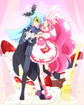 1boy 1girl :o androgynous animal_ears blue_hair boots bunny_ears cake_hair_ornament cape commentary_request cure_whip earrings epaulettes extra_ears food food_themed_hair_ornament fork formal fruit gloves hair_ornament hand_on_another's_hip holding_hands jewelry julio_(kirakira_precure_a_la_mode) kirakira_precure_a_la_mode long_hair magical_girl mask necktie open_mouth pink pink_choker pink_eyes pink_hair pointy_ears precure puffy_short_sleeves puffy_sleeves short_sleeves smile strawberry strawberry_shortcake suit twintails usami_ichika whipped_cream white_gloves yui_(kanatamoo)