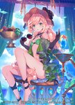 1girl apple bare_shoulders barefoot black_gloves blonde_hair blue-framed_eyewear blue_hawaii blue_sky blueberry breasts chair cloud cloudy_sky cocktail commentary_request cup curtains day drinking_glass elbow_gloves eyewear_removed fantasy food frilled_skirt frills fruit gloves grapes green_bikini_top green_eyes green_skirt hat holding holding_eyewear indoors knee_up lamp long_hair looking_at_viewer lord_of_vermilion mango miniskirt navel official_art parted_lips round_eyewear shindou_kamichi sitting skirt sky small_breasts solo stomach sunglasses thighs tinted_eyewear tropical_drink very_long_hair watermark