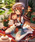 1girl :3 aqua_dress braid bridge brown_hair camellia capelet company_name copyright_name day dress esukee flower food frilled_dress frills fruit full_body green_eyes hagoita hair_flower hair_ornament hat holding holding_stuffed_animal indoors kadomatsu kagami_mochi kite long_hair looking_at_viewer mandarin_orange mob_cap new_year official_art paddle pond ribbon-trimmed_legwear ribbon_trim sengoku_saga side_braid sitting solo stepping_stones stuffed_animal stuffed_monkey stuffed_toy tatami thighhighs tree vase veranda wariza white_legwear