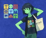 1girl artist_name bag black_hair blue_background casual contemporary expressionless flat_chest green_eyes green_skin hand_behind_head hand_on_hip handbag jewelry mona_(shovel_knight) necklace sachy_(sachichy) shirt short_hair shovel_knight signature simple_background solo t-shirt vest