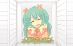 1girl aqua_hair bad_id bad_pixiv_id bare_shoulders casual chin_rest closed_eyes flower hatsune_miku long_hair sama smile solo vocaloid window