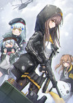 4girls aircraft anger_vein armband bangs beret black_legwear blue_hair blush brown_hair closed_mouth cowboy_shot g11_(girls_frontline) girls_frontline gun hair_ornament hat helicopter highres hk416_(girls_frontline) holding holding_gun holding_weapon hood hoodie jacket kong_(ksw2801) long_hair long_sleeves looking_at_viewer military military_uniform miniskirt multiple_girls open_clothes open_hoodie open_jacket pantyhose parted_lips red_eyes rifle skirt snowing snowman two_side_up ump45_(girls_frontline) ump9_(girls_frontline) uniform wavy_mouth weapon x_hair_ornament yellow_eyes