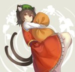 1girl alternate_eye_color animal_ear_fluff animal_ears bangs brown_hair cat_ears cat_tail chen commentary_request eyebrows_visible_through_hair feet_out_of_frame green_hat grey_background hair_between_eyes hat highres long_sleeves looking_at_viewer mob_cap multiple_tails nekomata object_hug petticoat pillow pillow_hug red_skirt red_vest rin_falcon shirt short_hair simple_background skirt skirt_set smile solo tail touhou two_tails vest white_legwear white_shirt yellow_eyes
