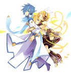1girl 2boys akiyoshi_(tama-pete) arm_warmers blonde_hair blue_eyes blue_hair blue_scarf boots coat collaboration commentary_request detached_sleeves hair_ornament hair_ribbon hairclip headset kagamine_len kagamine_len_(append) kagamine_rin kagamine_rin_(append) kaito kaito_(vocaloid3) leg_warmers multiple_boys ribbon scarf short_hair vocaloid vocaloid_append yoshiki