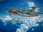 absurdres acrylic_paint_(medium) aircraft airplane ambiguous_gender blackburn_buccaneer blue_sky calligraphy_brush_(medium) cloud cloudy_sky commentary day flying hayashi_toshihiro helmet highres jet military outdoors scenery sky traditional_media