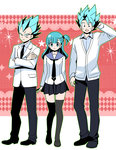 1girl 2boys argyle bad_id bangs blue_eyes blue_hair bulma cardigan dragon_ball dragon_ball_z formal hand_behind_head miwa_(m-iwamiwa2014) multiple_boys necktie outline school_uniform serafuku son_gokuu sparkle spiked_hair suit super_saiyan super_saiyan_god vegeta