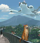2016 animal building cat cat_focus closed_eyes cloud dated day fence looking_up matataku monita_(matataku) mountain no_humans original oversized_animal scenery signature sky surprised_cat_(matataku) surreal tree whiskers