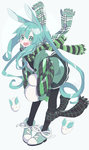 1girl absurdres animal_ears black_legwear blush bunny_ears coat eyebrows_visible_through_hair full_body green_eyes green_hair green_scarf hatsune_miku highres kemonomimi_mode long_hair looking_at_viewer open_mouth pantyhose ponytail relila scarf smile snow_bunny snowman solo twintails very_long_hair vocaloid