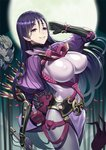 1boy 2girls armor black_gloves black_hair blonde_hair bodysuit breasts brown_eyes covered_nipples cowboy_shot fate/grand_order fate_(series) full_moon gloves holding holding_sword holding_weapon impossible_bodysuit impossible_clothes japanese_armor kote large_breasts long_hair minamoto_no_raikou_(fate/grand_order) moon multiple_girls oni_horns purple_bodysuit purple_eyes purple_hair ribbed_sleeves ririko_(zhuoyandesailaer) sakata_kintoki_(fate/grand_order) sakata_kintoki_rider_(fate/grand_order) short_hair shuten_douji_(fate/grand_order) skin_tight smile solo_focus standing sunglasses sword weapon