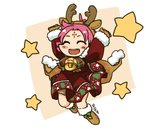 1girl antlers arms_up artist_name bell boots brown_gloves cape closed_eyes dress fa facial_mark fire_emblem fire_emblem:_fuuin_no_tsurugi fire_emblem_heroes forehead_mark full_body fur_trim gloves long_sleeves mamkute open_mouth purple_hair reindeer_antlers short_hair sksk7r solo star