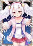1girl animal_ears azur_lane bangs blush breasts bunny_ears camisole collarbone commentary_request cowboy_shot eyebrows_visible_through_hair fur-trimmed_jacket fur_trim hair_between_eyes hair_ornament hairband jacket laffey_(azur_lane) long_hair long_sleeves looking_at_viewer misaki_(misaki86) open_clothes open_jacket outstretched_arms parted_lips pink_jacket pleated_skirt red_eyes red_hairband red_skirt sidelocks silver_hair skirt sleeves_past_wrists small_breasts solo thighhighs twintails very_long_hair water_drop white_camisole white_legwear