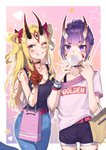2girls bag belt black_horns black_shirt blonde_hair blush breasts casual chewing_gum cleavage commentary_request denim eyebrows_visible_through_hair facial_mark fate/grand_order fate_(series) fingernails flat_chest grin highres horns ibaraki_douji_(fate/grand_order) jeans kaer_sasi_dianxia large_breasts long_hair multiple_girls oni_horns pants pink_belt ponytail purple_hair red_belt red_nails sharp_fingernails shirt short_shorts shorts shuten_douji_(fate/grand_order) smile sweater twintails v white_sweater