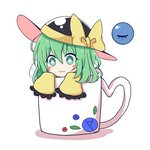 1girl :3 bangs black_hat blush_stickers bow commentary_request cup eyebrows_visible_through_hair eyelashes frilled_sleeves frills green_eyes green_hair hair_between_eyes hat hat_bow in_container in_cup komeiji_koishi long_sleeves looking_at_viewer minigirl mug shadow short_eyebrows short_hair simple_background solo tareme third_eye touhou white_background wide_sleeves yellow_bow ying1hua1