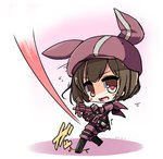 1girl animal_ears animal_hat bangs black_footwear boots brown_eyes brown_hair bullet_line bullpup bunny_ears bunny_hat cabbie_hat commentary_request dated eyebrows_visible_through_hair flying_sweatdrops gloves gun hat holding holding_gun holding_weapon jacket knee_boots llenn_(sao) long_sleeves looking_at_viewer looking_to_the_side open_mouth p90 pants pink_gloves pink_hat pink_jacket pink_pants shirasu_youichi short_hair solo standing standing_on_one_leg submachine_gun sword_art_online sword_art_online_alternative:_gun_gale_online thighhighs weapon