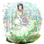 1girl black_hair blue_eyes bouquet breasts bridal_veil cleavage collarbone detached_sleeves dress flower full_body green_footwear highres holding holding_bouquet jewelry layered_dress long_dress long_sleeves looking_at_viewer medium_breasts mole mole_under_eye necklace official_art petals pink_flower pink_rose pumps rose sachi_(sao) short_hair sleeveless sleeveless_dress solo standing strapless strapless_dress sword_art_online transparent transparent_background veil wedding_dress white_dress white_sleeves
