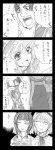 1boy 3girls 4koma alice_margatroid bad_id comic crossover da_qiao highres kirisame_marisa monochrome multiple_girls shin_sangoku_musou sun_ce touhou translated una_kata ze_(phrase)