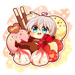 1boy azu. blue_eyes chibi copyright_name dante_(devil_may_cry) devil_may_cry food fruit ice_cream male_focus pocky solo strawberry sweets text_focus white_hair