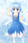 1girl blue_dress blue_eyes blue_hair bow cirno dress fairy fujiwara_rion hair_bow hand_on_hip ice ribbon short_hair smile solo standing touhou wings