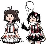 2girls :d >:d antenna_hair beetle black_hair brown_hair bug butterfly_net cowboy_shot double_bun elbow_gloves gloves hair_ornament hand_net insect kantai_collection lowres multiple_girls naka_(kantai_collection) open_mouth remodel_(kantai_collection) sendai_(kantai_collection) simple_background smile solid_circle_eyes terrajin white_background white_gloves