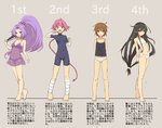 4girls :d ahoge ankle_wraps arms_behind_back bandaged_arm bandaged_leg bandages bangs bare_shoulders barefoot big_hair black_hair blush bodysuit bra braid breasts brown_eyes brown_hair camisole cassandra_(seishun_katsu_sando) cleavage clenched_hands closed_fan covered_navel expressionless eyebrows eyes_visible_through_hair fan feet flat_chest folding_fan full_body grey_background grey_panties groin hair_between_eyes hair_ornament hair_ribbon hatsuharu_(kantai_collection) hatsushimo_(kantai_collection) high_ponytail holding holding_arm kantai_collection legs lineup lingerie long_hair looking_at_viewer low-tied_long_hair lowleg lowleg_panties messy_hair multiple_girls navel negligee nenohi_(kantai_collection) number open_mouth panties pink_hair ponytail purple_eyes purple_hair purple_panties red_eyes ribbon see-through short_eyebrows short_hair simple_background single_braid skin_tight small_breasts smile taut_clothes training_bra translated turtleneck underwear underwear_only unitard very_long_hair wakaba_(kantai_collection) white_bra white_panties wrist_wraps