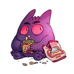 chips creature drinking drinking_straw eyebrows food full_body gen_1_pokemon gengar ghost holding juice_box no_humans pokemon pokemon_(creature) potato_chips red_eyes simple_background sitting solo vaughn_pinpin white_background