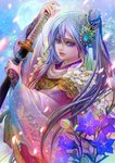 1girl arm_up bellflower blue_eyes blue_flower blue_hair chinese_bellflower feathers flower fukami_kazuha full_moon gem hair_ornament hair_ribbon hand_up holding holding_sword holding_weapon hototogisu_tairan japanese_clothes katana light_smile long_hair long_sleeves moon night one_side_up petals ribbon sheath sheathed solo sword tassel upper_body very_long_hair weapon wide_sleeves