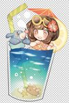 1girl alternate_costume barefoot bikini bikini_skirt black_eyes brown_eyes brown_hair chibi cocktail_umbrella cup drink drinking_glass drinking_straw eyewear_on_head flower food fruit full_body gen_7_pokemon hair_flower hair_ornament hands_up happy knees_together_feet_apart lemon lemon_slice looking_down midriff minigirl mizuki_(pokemon) navel open_mouth orange_bikini pink_flower pokemon pokemon_(creature) pokemon_(game) pokemon_sm popplio purple_eyes pyukumuku red_flower seashell shell shiny shiny_hair short_hair simple_background smile starfish sunglasses swimming swimsuit teeth two-tone_background water yellow-framed_eyewear yellow_flower zuizi