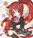1girl animal_ears black_legwear blush bow bowtie cat cat_ears cat_tail floral_background flower kemonomimi_mode little_busters! long_hair long_sleeves looking_at_viewer marker_(medium) mizame natsume_rin open_mouth paw_pose petals pink_bow plaid plaid_skirt ponytail purple_flower red_eyes red_hair school_uniform skirt tail traditional_media very_long_hair white_flower yellow_flower