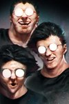 3boys bacius black_hair black_shirt covered_eyes glasses harry_james_potter harry_potter highres male_focus meme multiple_boys multiple_persona opaque_glasses parody round_eyewear shirt smile star starry_background symmetry teeth