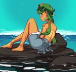 1girl bare_back barefoot blush breasts commission from_behind green_eyes green_hair highres long_hair looking_at_viewer looking_back low_twintails lying mao_(pokemon) nipple_slip nipples nose_blush ocean overall_shorts pokemon pokemon_(anime) pokemon_(game) pokemon_sm pokemon_sm_(anime) polyle pose rock shorts solo tan tanline topless trial_captain twintails
