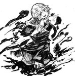 1girl ascot ballpoint_pen_(medium) bow darkness hair_bow hair_ribbon highres monochrome open_mouth rg_(bvfij) ribbon rumia short_hair skirt smile solo touhou traditional_media