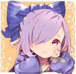 1girl bangs blue_bow blue_ribbon blush bow closed_mouth granblue_fantasy hair_bow hair_over_one_eye hair_ribbon hand_on_own_cheek harvin long_sleeves looking_at_viewer nio_(granblue_fantasy) orange_background pointy_ears purple_eyes purple_hair ribbon simple_background smile solo tadano_omake upper_body