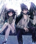 2boys angel_and_devil beard black_hair black_wings checkered checkered_scarf commentary_request danganronpa facial_hair goatee hair_between_eyes jacket jacket_on_shoulders long_hair long_sleeves looking_at_another male_focus momota_kaito multiple_boys new_danganronpa_v3 open_mouth ouma_kokichi pants purple_eyes purple_hair scarf school_uniform shirt short_hair single_wing smile spiked_hair straitjacket white_wings wings z-epto_(chat-noir86)