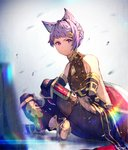 1boy absurdres animal_ears blurry closed_mouth commentary_request depth_of_field enj! granblue_fantasy highres indian_style lens_flare looking_at_viewer male_focus purple_eyes purple_hair quatre_(granblue_fantasy) rainbow sitting solo