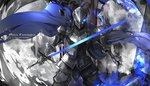 armor blue_cape burning_eye cape copyright_name cowboy_shot full_armor gauntlets helmet highres holding holding_sword holding_weapon pixiv_fantasia pixiv_fantasia_fallen_kings saberiii solo standing sword weapon