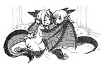 2girls bed breasts claws commentary_request curvy dragon_girl dragon_horns dragon_wings greyscale heart highres horns latenight looking_at_viewer monochrome monster_girl monster_girl_encyclopedia multiple_girls nude pillow scales short_hair sketch smile tail thighs winged_arms wings wyvern_(monster_girl_encyclopedia) yellow_eyes